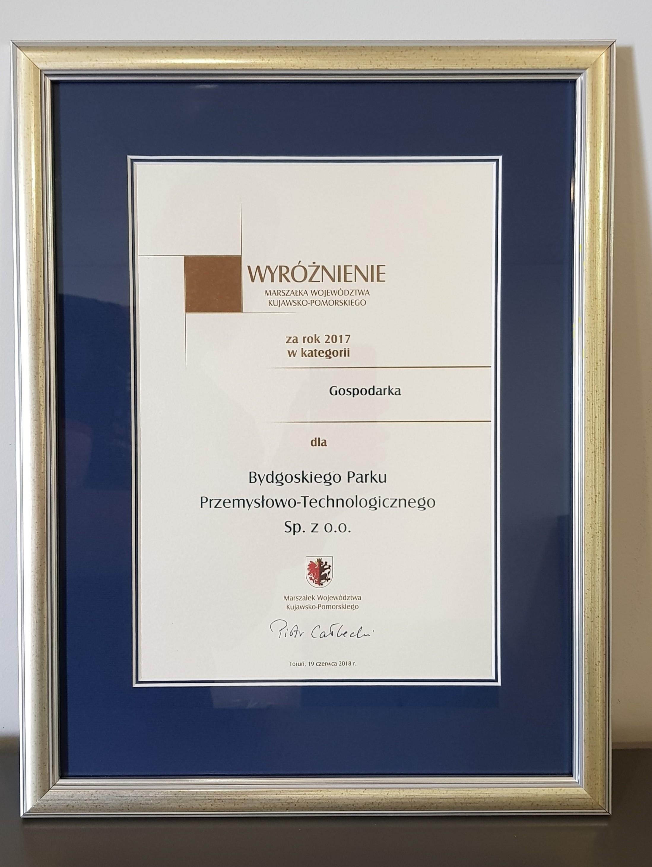 Wyróżnienie Marszałka Województwa Kujawsko-Pomorskie